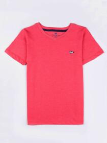 Big Girls Pink Cotton V-Neck Tee Shirt