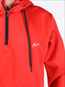 Men's Red Sporty Quarter-Zip hooded Sweatshirt