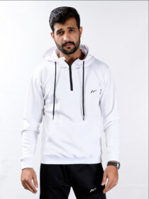 Men's White Sporty Quarter-Zip hooded Sweatshirt