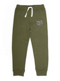 Little Boys Olive Fleece Slim Joggers