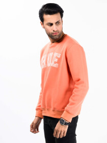 Men Orange Fleece Sweatshirt