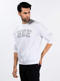 Men White Fleece Sweatshirt