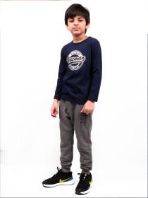 Little Boys Navy Blue Full Sleeves T-Shirt