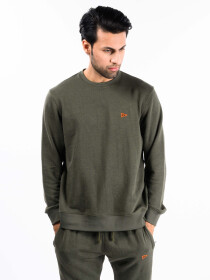 Men Olive Terry Solid Sweatshirt