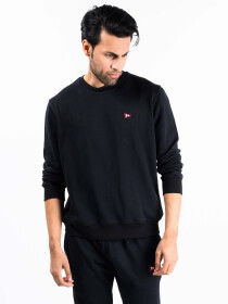 Men Black Terry Solid Sweatshirt