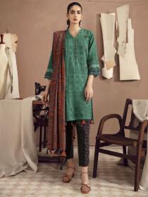 Green Printed Slub Khaddar Unstitched 3Piece Suit for Women