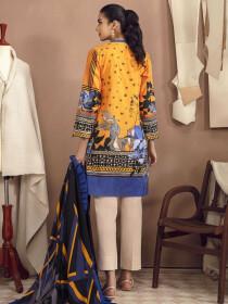 Yellow Printed Slub Khaddar Unstitched 2Piece Suit for Women