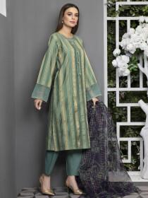Aqua Printed Jacquard Unstitched 2Piece Suit for Women