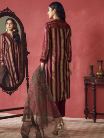 Maroon Printed Jacquard Unstitched 2Piece Suit for Women