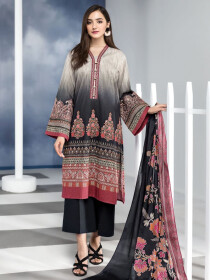 Black Printed Embroidered Lawn Unstitched 2Piece Suit for Women