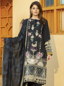 Black Printed Embroidered Winter Cotton Unstitched 2Piece Suit for Women
