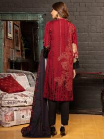 Maroon Printed Slub Khaddar Unstitched 2Piece Suit for Women