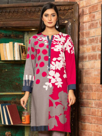 Pink Printed Slub KhaddarUnstitched Shirtfor Women