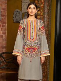 Grey Printed Slub KhaddarUnstitched Shirtfor Women