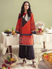 Orange Printed Slub KhaddarUnstitched Shirtfor Women