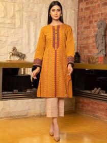 Mustard Printed Slub KhaddarUnstitched Shirtfor Women