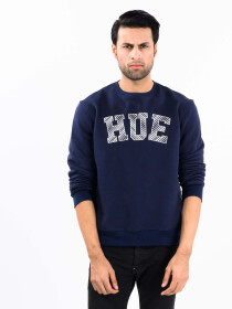 Men Navy Blue Fleece Sweatshirt