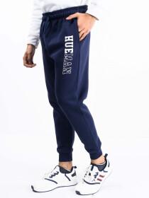 Men Navy Blue Fleece Slim Joggers