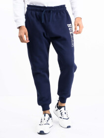 Men Navy Blue Fleece Slim Joggers