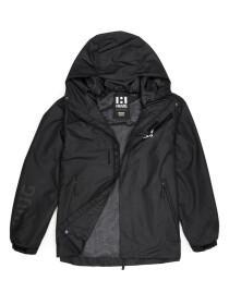 Men Black Windbreaker & Waterproof Rain Jacket