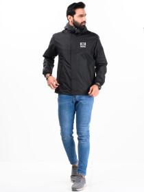 Men Windbreaker Mid Length Jacket with Mesh lining Black