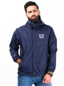 Men Windbreaker Mid Length Jacket with Mesh lining Blue