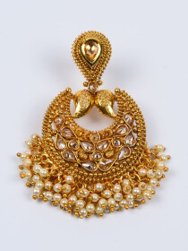 Pearl Artistically Gold Plated Austrian Earring