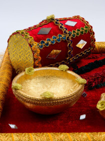 Emerald Red & Metallic Gold Mehndi Tray