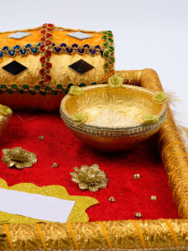 Emerald Maroon & Metallic Gold Mehndi Tray