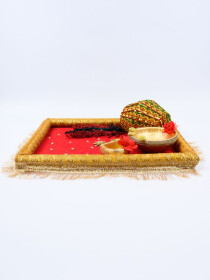 Emerald Burgundy & Metallic Gold Mehndi P Trays