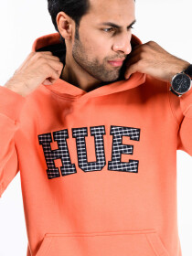 Men Orange Fleece Hooded Sweatshirt