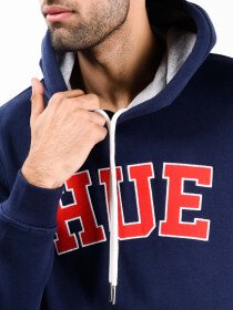 Men Navy Blue Fleece Hooded Sweatshirt