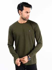 Men Olive Terry Solid Full Sleeves T-Shirt