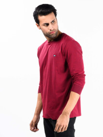 Men Burgundy Terry Solid Full Sleeves T-Shirt