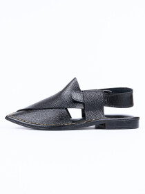 Completely Hand-crafted Black Peshawari Chappal