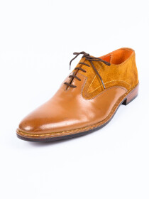 Handmade Two Tone Men Formal Brown Leather Shoes