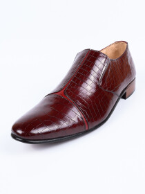 Handmade Two Tone Men Formal Burgundy Leather Shoes