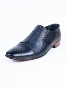 Handmade Men Formal Navy Blue Leather Shoes