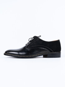 Handmade Two Tone Men Formal Black  Leather Shoes
