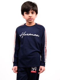 Big Boy Navy Blue Stripes Full Sleeve Raglan Shirt