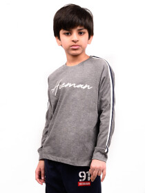 Big Boy Grey Stripes Full Sleeve Raglan Shirt