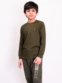 Big Boy Olive Terry Full Sleeve T-Shirt