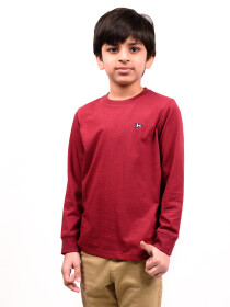 Big Boy Burgundy Terry Full Sleeve T-Shirt