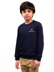 Big Boy Navy Blue Terry Full Sleeve T-Shirt