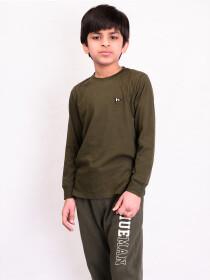 Little Boy Olive Terry Full Sleeve T-Shirt