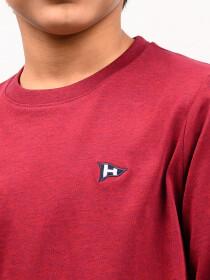 Little Boy Burgundy Terry Full Sleeve T-Shirt
