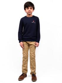 Little Boy Navy Blue Terry Full Sleeve T-Shirt