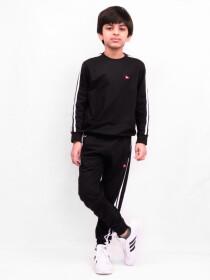Little Boy Black Stripe Fleece Crew Sweatsuit