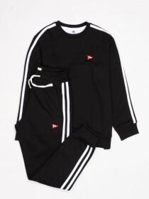 Big Boy Black Stripe Fleece Crew Sweatsuit
