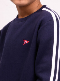 Big Boy Navy Blue Stripe Fleece Crew Sweatsuit